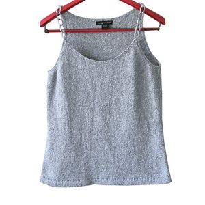 August Silk Silver Chain Strap Tank Top